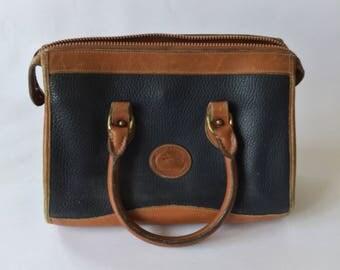 Vintage Brown Black Leather Dooney & Bourke Two Handle Handbag |
