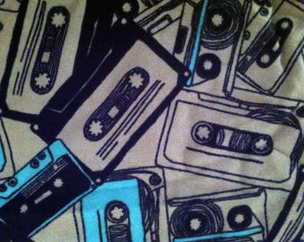 Cassette Tape (grey) Flannel Fabric by the half yard