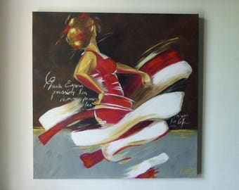 Dancer in red, modern painting