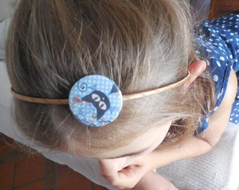 headband with fabric or paper laminated 32 mm badge