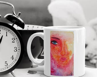 Original Watercolor - Female Portrait - Mug
