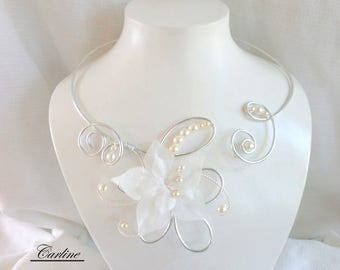 Wedding - Kenza - silk flowers necklace silver ivory pearls