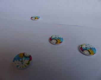 Wooden flower buttons 18mm diy colors