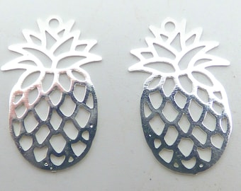 2 silver 20x12mm pineapple print