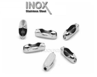 100 9x3mm stainless chain connector clasps ball 2 and 2.4 mm stainless steel M02908