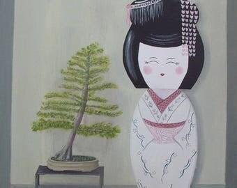 "Painting 40 x 40 cm, Japanese style Kokeshi ""Geisha and the venerable"""