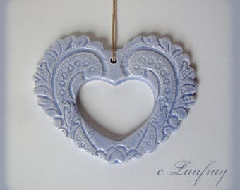 Ceramic heart openwork and blue lace