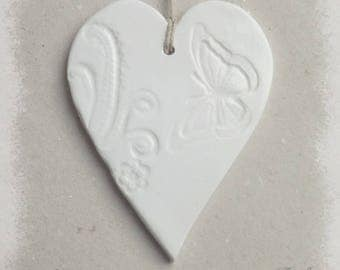 Ceramic heart prints with white lace