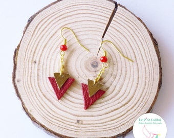 """""""Naomi"""" red leather earrings"""