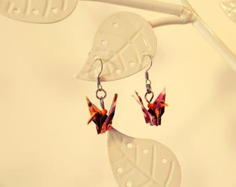 Dark red origami crane earrings