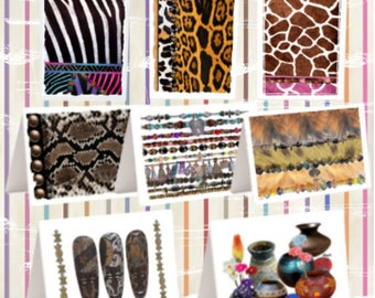 """Afro-Centric [Animal Print, Masks, Beads, Pottery] Note Cards [4.25""""x5""""]"""