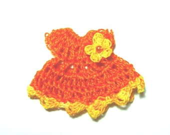 Mini dress in orange and yellow cotton crochet miniature