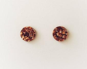 15mm Copper Lux Glitter Round Stud Earrings