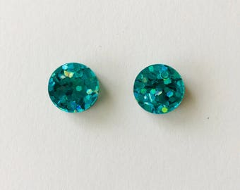 NEW NEW NEW!! 15mm Peacock Green Lux Glitter Round Stud Earrings