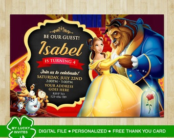 Beauty and the Beast Invitation, Beauty and the Beast Birthday, Beauty and the Beast Party, Beauty and the Beast, FREE Thank you card