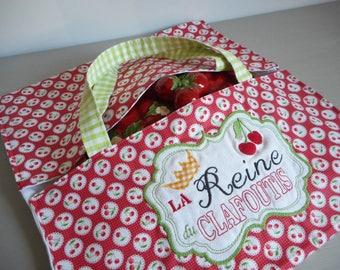 """sac à tarte brodé  """"la reine du clafoutis"""" broderie machine, rouge, blanc, vert, cerises, couronne, vichy"""