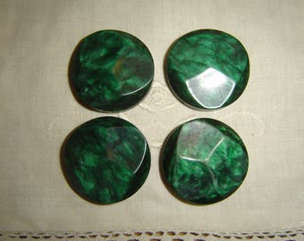 4 vintage green buttons / / 30 mm
