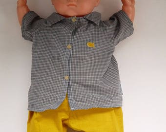 little boy, grey and yellow shirt size 3 / 6 months