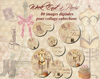 """""""Digital images for cabochon jewelry ' Weel End in Paris"""" beige, sewing, dummy, corset, paris"""