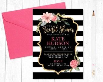 kate spade inspired bridal shower invitation digital download printing options available - Kate Spade Wedding Invitations