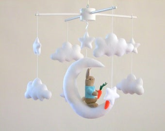 Peter Rabbit baby mobile, Baby mobile, Ready to ship , Crib mobile, Musical baby mobile, Moon and clouds, Cot mobile, Rabbit on the moon