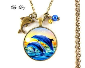 Necklace * dolphins ocean and sunset *, retro pendant cabochons!