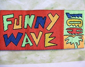 applique surfing Wave Funny red background and letters neon patch iron-on or sew style Hawaiian 623