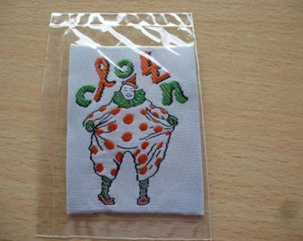 white color clown badge patch applique neon orange and green for sewing and embellishments