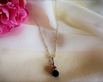 silver chain necklace pendant Swarovski black and Ruby Crystal beads