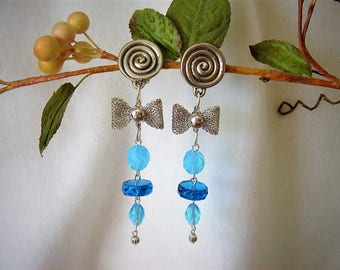 "Earrings retro vintage long ""from the South Seas Blues"" on silver clip, Crystal beads and Bohemian with silver Butterfly"