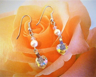 Vintage 5 cm Pearl and Aurora Borealis swarovski crystal heart earrings