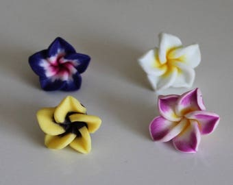 1 set of 4 flowers of Polynesia, 15 mm polymer ref No. 10