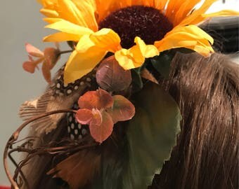 Sunflower Yellow Rustic Fascinator Floral Head Piece Hair Clip Comb Band Wedding Bridesmaid Headdress Hessian Feather Twig