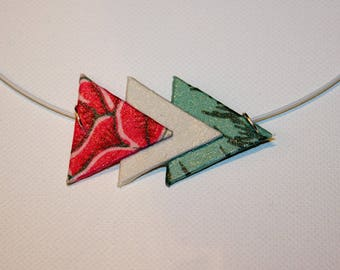 Trio of pastel triangles fabric pendant