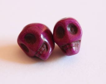 ❥ 1 Purple howlite skull bead
