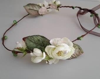 Couronne de mariée  headband romantique fleurs de cerisier