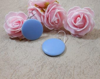 Blue round earrings, geometric earrings, blue earrings, blue disc earrings, circle earrings, hoop earrings, women's gift , jewel for her,