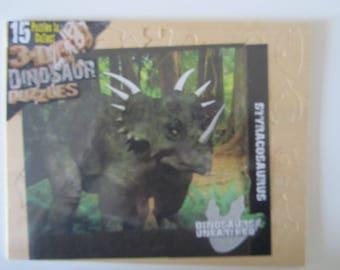 3D dinosaur Puzzles - representing a Styracosaurus wooden