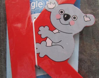 """Adhesive letter painted wood - representing the letter """"K"""" as Koala"""