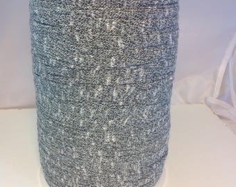 Large spool of Trapilho cotton stretch Black Heather white
