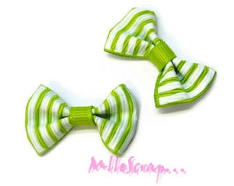 Set of 5 Green embellishment scrapbooking carterie.* striped bows