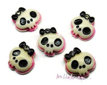 Set of 5 mini skulls, black, pink embellishment scrapbooking (ref.310) *.