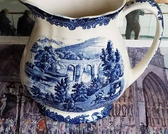 "Royal Worcester Palissy 1790 ""AVON SCENES"" Blue and White Jug!Stunning British Kitchenalia!"