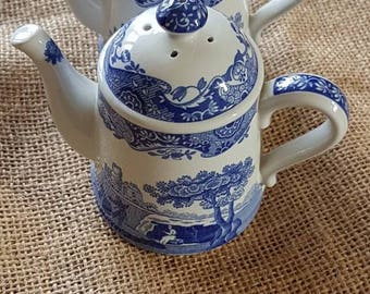 "Genuine ""Spode"" Blue Italian Teapot Shaped Salt and Pepper Shakers- Made in England!"
