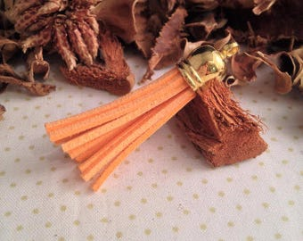 Suede cord, Orange, gold hanging tassel