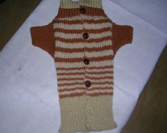 Coat with sleeves for little dog in Brown and beige wool