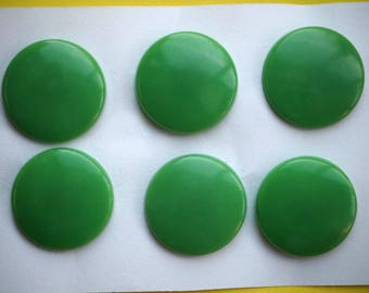 6 small green buttons in 22mm synthetic, shirt or vest or scrapbooking