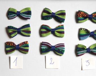 lot 3 Aztec fabric bows, 45x24mm, bohemian, green, blue