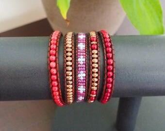 Asia 5 towers - Mala bracelet cuff wrap bracelet
