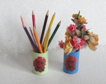 perncylholder, vase cardboard roll, table decoration, desk, shelf decoration